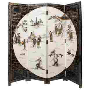 Asian Chinese Screen, Mid Century Chinese 4 Fold Hand