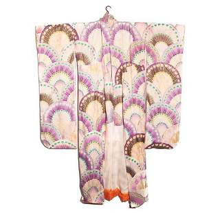 Japanese 1940s vintage handwoven silk crepe furisode