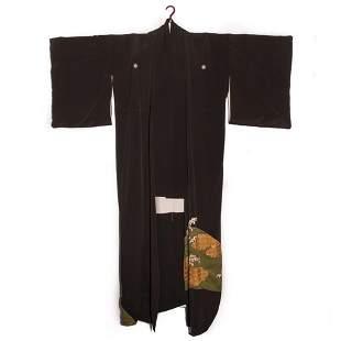 Japanese 1940s vintage handwoven silk crepe formal