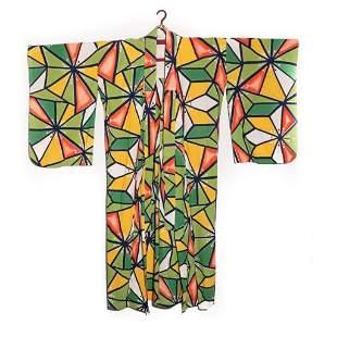 Japanese 1930's vintage handwoven cotton kimono