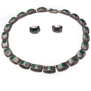 signed Necklace and Earrings, Malachite and Sterling