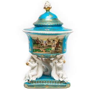 Large Sevres Porcelain Lidded Centerpiece