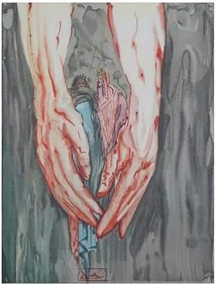 Salvador Dali signed Woodblock Print
