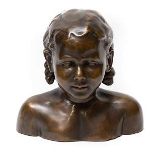 Early 20th Century Signed Bronze Bust of Child