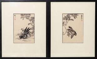 Pair of Kono Bairei woodblock prints