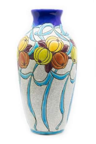 Charles Catteau for Boch Freres Art Deco Vase