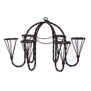 Vintage wrought iron chandelier with 6 holders for oil