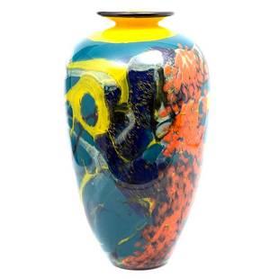 Ioan Nemtoi tall 20th Century art Glass Vase