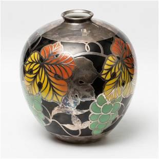 Furstenberg Signed Silver Overlay Porcelain Art Nouveau