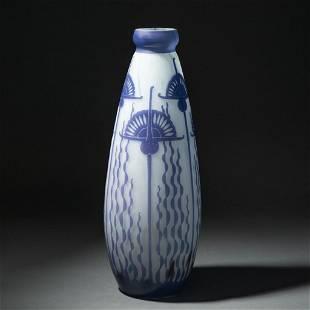 Daum Nancy signed egyptian revival tall cameo glass