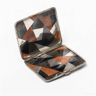 Mid Century multi-colored metal cigarette case