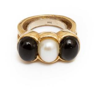 Ring, Cultured Pearl and Black Onyx Ring