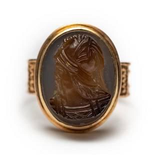 14k Chalcedony French cameo Frankish Warrior Ring,c1860