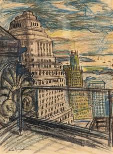 "Carl Sprinchorn Signed ""New York City"" Mixed Media"