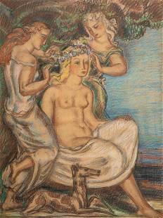 Rene Buthaud circa 1930 signed mixed media pastel