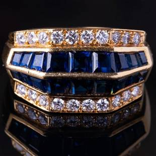Ring, Oscar Heyman 2.55ctw Blue Sapphire & Diamond Ring