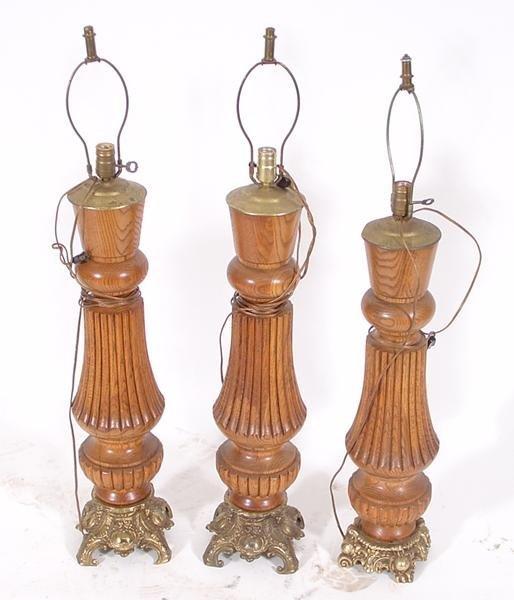 4: Lot of 3 unusual oak lamps