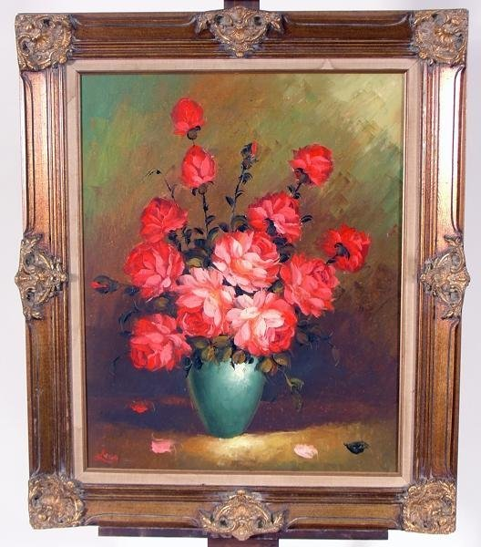"""9: Signed Oil on Canvas """"Roses in a Vase"""""""