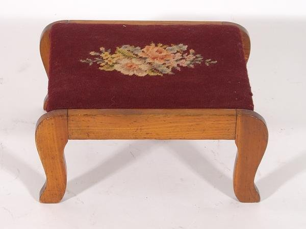 11: Wood foot stool with needle point cover