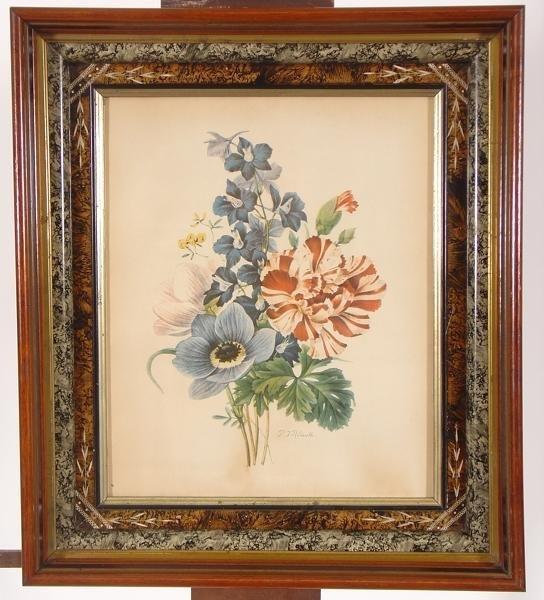 24: P.J. Redoute botanical print, beautiful shadow box