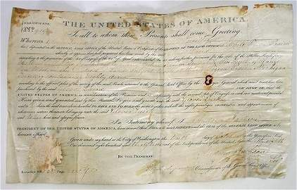 143: 1833 Land Grant signed by Andrew Jackson, Sec.
