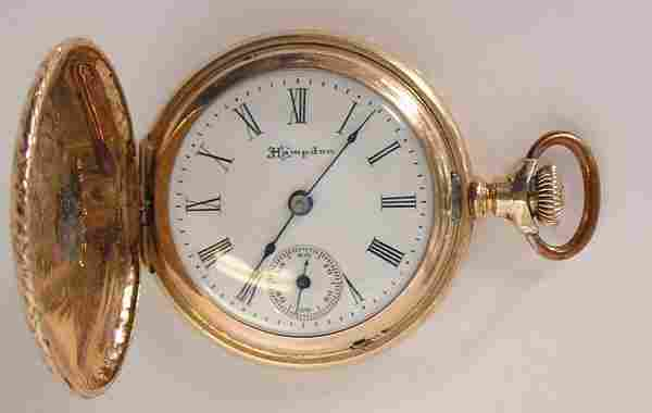 271: Ladies Hampden gold pocket watch
