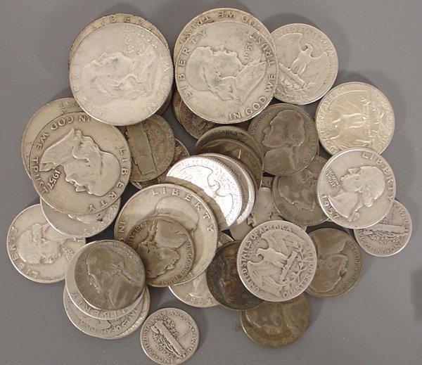 43 Silver Coins, Quarters, Dimes & Halves