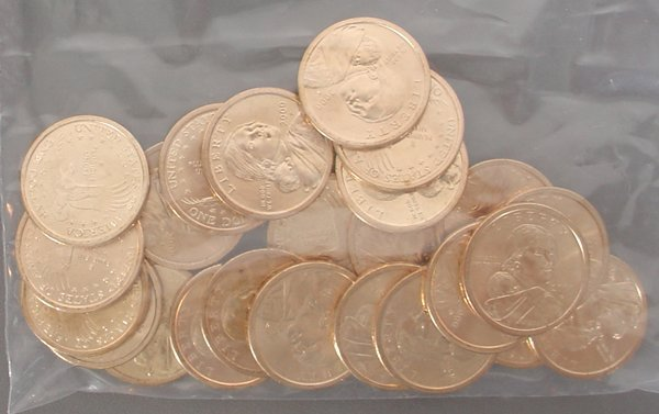 25 Sacagawea Dollars BU Unc.