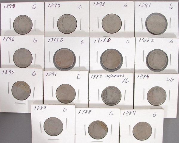 15 Liberty Nickels in holders