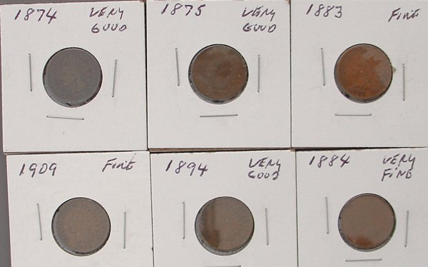 Indian Head Cents 1874 1883 1894 1875 1884 1909