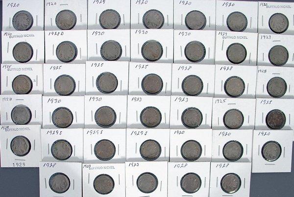 40 Buffalo Nickels in holders