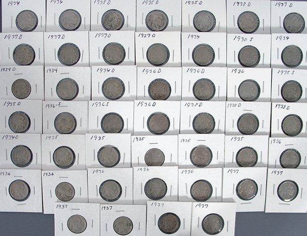 46 Buffalo Nickels in holders
