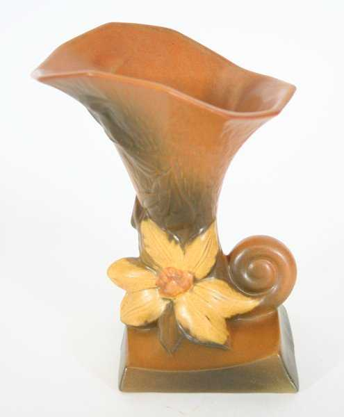 Roseville Clematis Cornucopia Vase 191 8