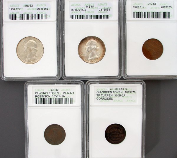 5 ANACS Graded - Quarters, Tokens, Indian Head Cent