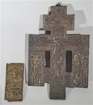 Two Bronze Russian Icons