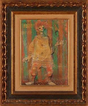 ROBERT J LEE, CLOWN, oil on canvas