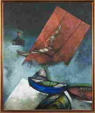 GUEROL SOEZEN, Boat with Red Sail, oil on canvas