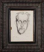 EDVARD MUNCH, Self Portrait, charcoal line drawing
