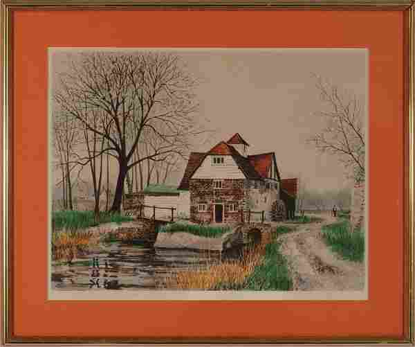 JEREMY KING, Maple Durham Hill Lithograph
