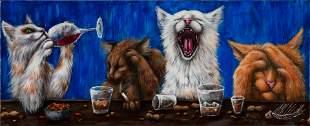 CHARLOTTE JORDAN, Drinking Cats, acrylic on canvas