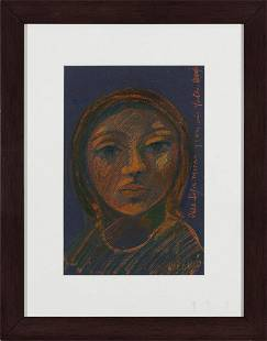 "ORLANDO NARANJO, ""Untitled"", pastel on black paper"