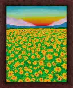 ELIN LI, Flowers in sunset, acrylic on canvas