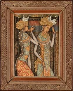 I KETUT KASTA, Two BalInese Girls acrylic on canvas