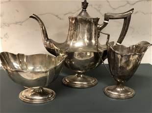 """Sterling Silver tea set 3 pieces. Tea pot size. H 10"""" x"""