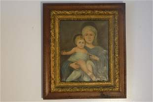 Madonna With Child Portrait, Oil On Canvas Painting