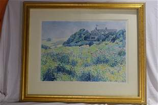 House Overlooking Floral Bushes & Forest, Watercolor