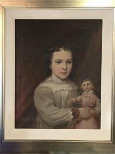 Antique Portrait Painting of Girl with Doll 19th
