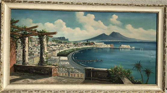Original Large Oil On Canvas Painting, Beach View
