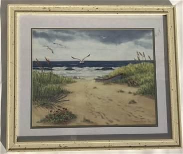 Sand Beach By Barbara Fleri,Water Color