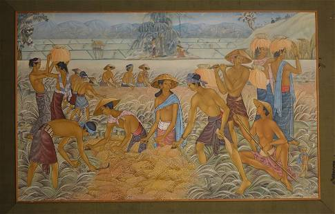 Asian Harvest Oil on Canvas Painting